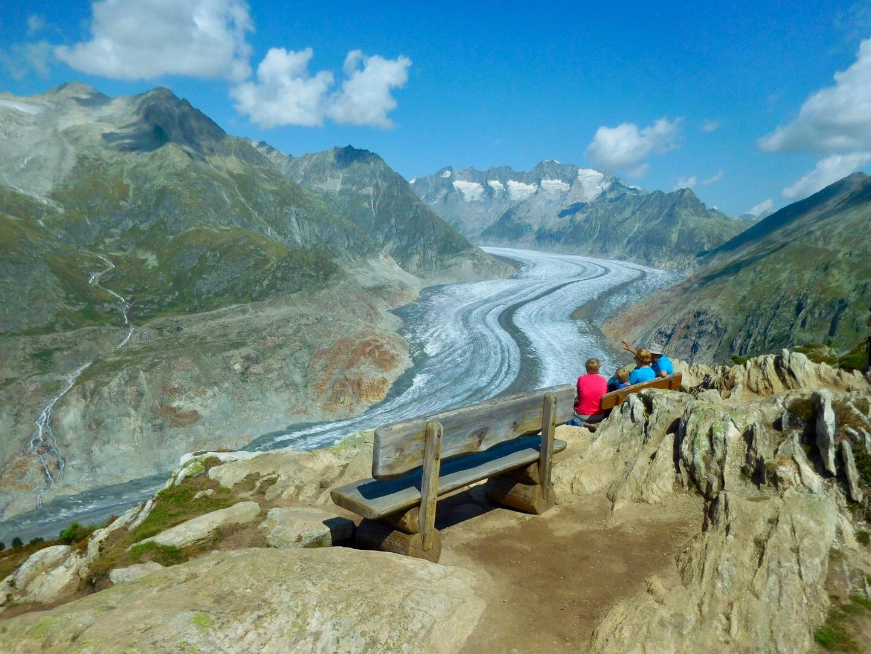 ViewPoint Moosfluh beim grossen Aletschgletscher im Wallis/Schweiz
