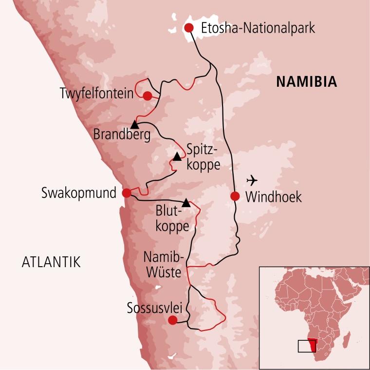 Überblick Reisekarte Namibia