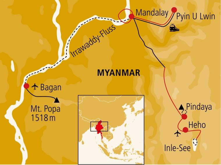Übersichtskarte der Reise durch Myanmar/Burma